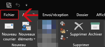 Accès au menu Fichier d'Outlook